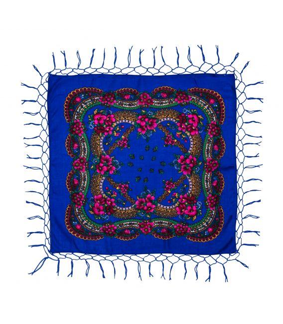 Batic tradițional cu franjuri - Albastru, 75 x 75 cm