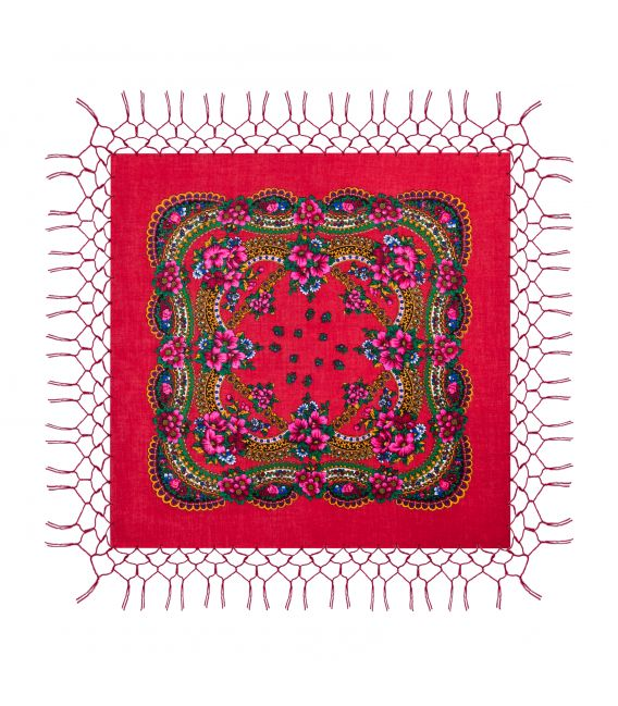 Batic traditional cu franjuri - Rosu, 120 x 120 cm