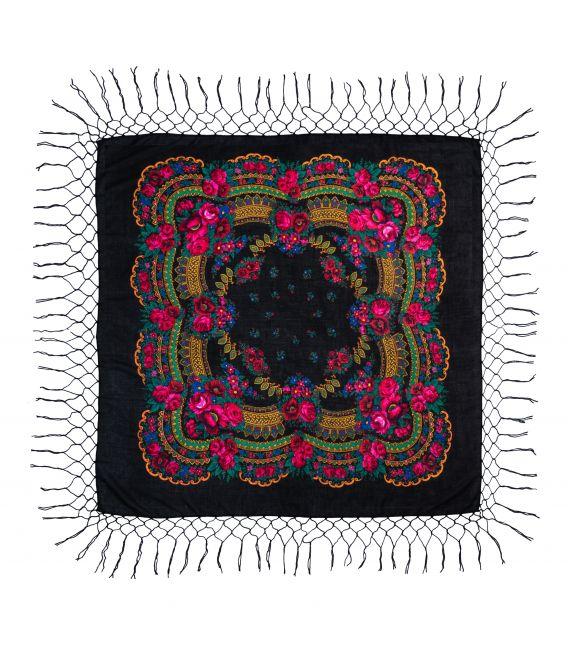 Batic traditional cu franjuri - Negru, 120 x 120 cm