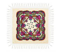 Batic traditional cu franjuri - Crem, 120 x 120 cm