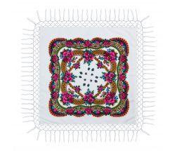 Batic traditional cu franjuri - Alb, 120 x 120 cm