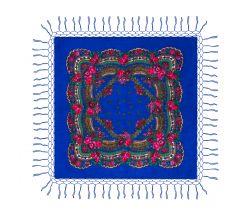 Batic traditional cu franjuri - Albastru, 120 x 120 cm